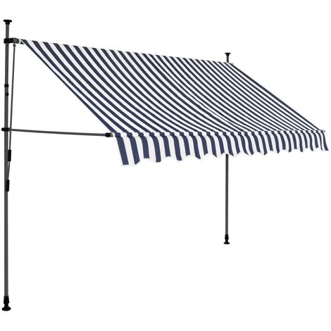 Hommoo Manual Retractable Awning with LED 250 cm Blue and White QAH35272