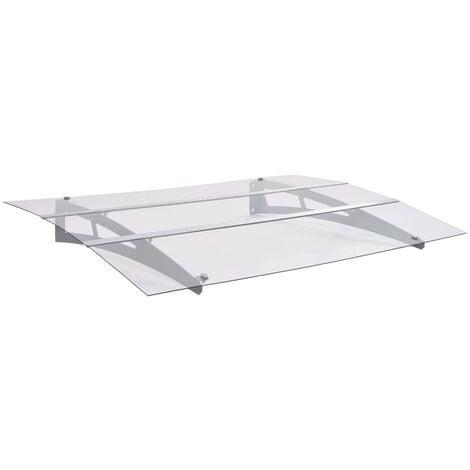 Hommoo Marquesina de puerta policarbonato plata transparente 120x90 cm
