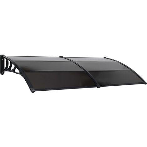 Hommoo Marquesina para puerta PC negra 300x100 cm