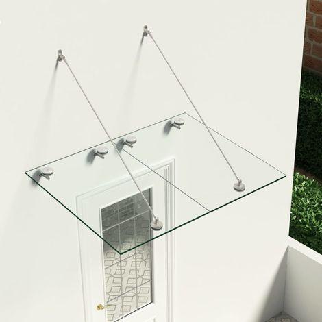 Hommoo Marquesina para puerta vidrio de seguridad VSG acero 120x90 cm