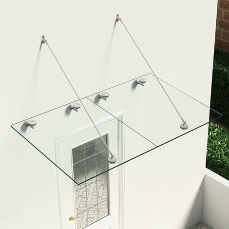 Hommoo Marquesina para puerta vidrio de seguridad VSG acero 150x90 cm
