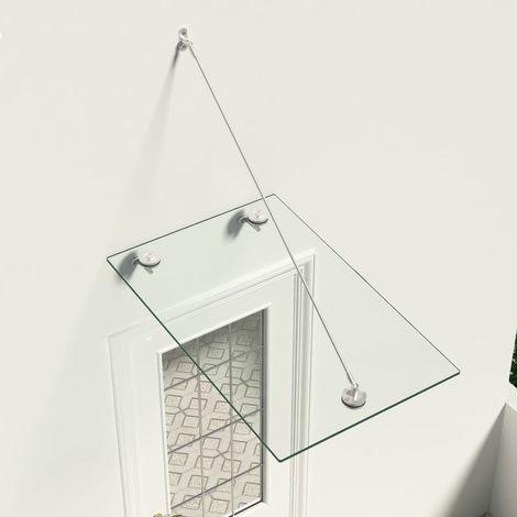 Hommoo Marquesina para puerta vidrio de seguridad VSG acero 90x60 cm