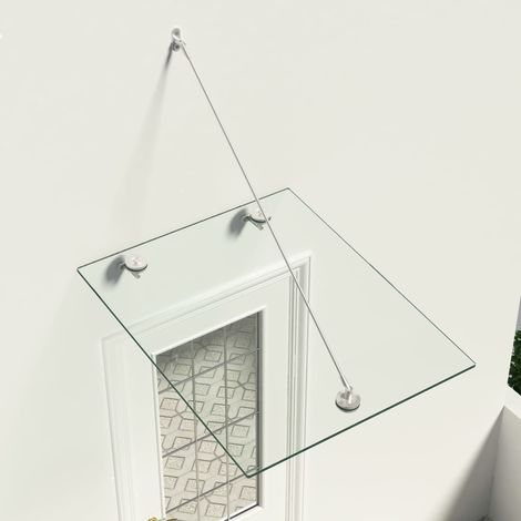 Hommoo Marquesina para puerta vidrio de seguridad VSG acero 90x75 cm