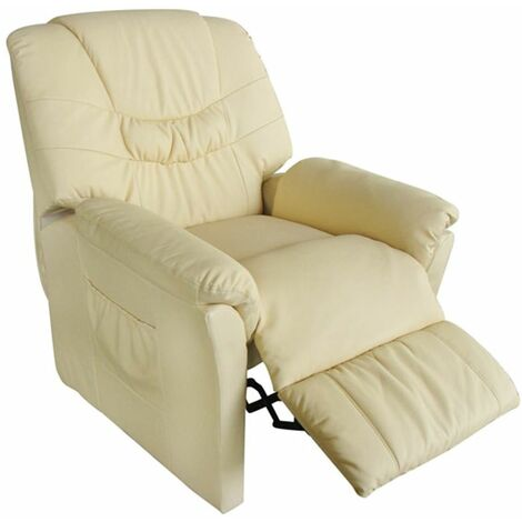 Hommoo Massage Chair Cream Faux Leather VD33026