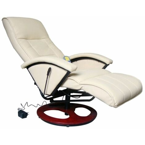 Hommoo Massage Chair Cream Faux Leather VD33030