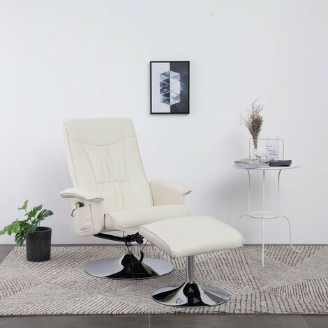 Hommoo Massage Recliner with Footstool Cream Faux Leather VD33145
