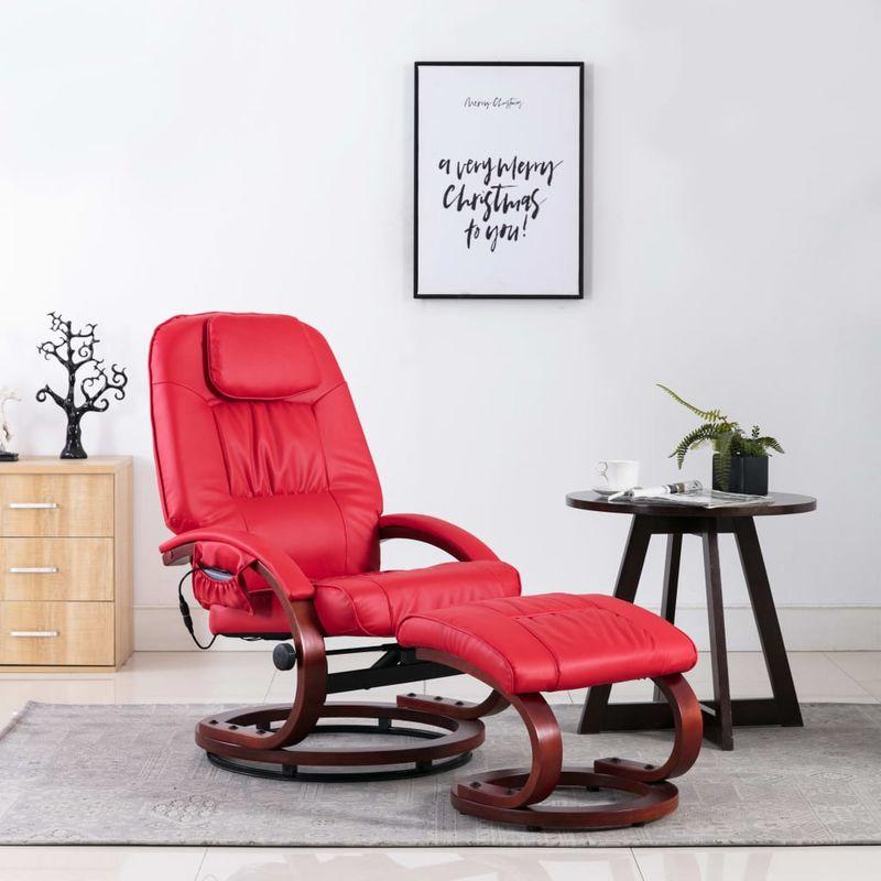 Hommoo Massagesessel mit Fußhocker Rot Kunstleder VD14247