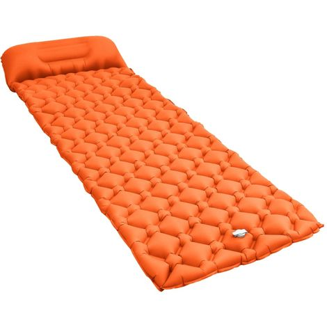 Hommoo Matelas gonflable avec oreiller 58x190 cm Orange
