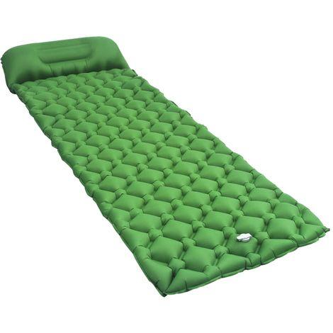 Hommoo Matelas gonflable avec oreiller 58x190 cm Vert
