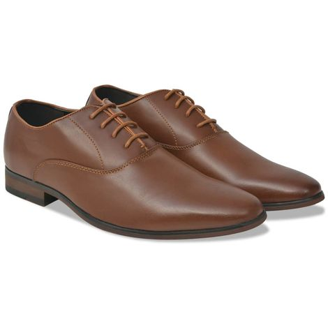 Hommoo Men's Business Shoes Lace-Up Brown Size 7.5 PU Leather