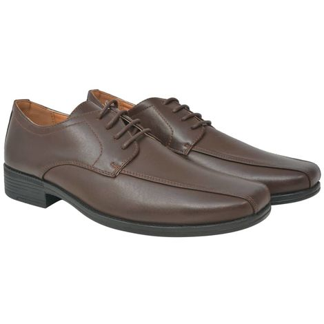 Hommoo Men's Business Shoes Lace-Up Brown Size 9.5 PU Leather