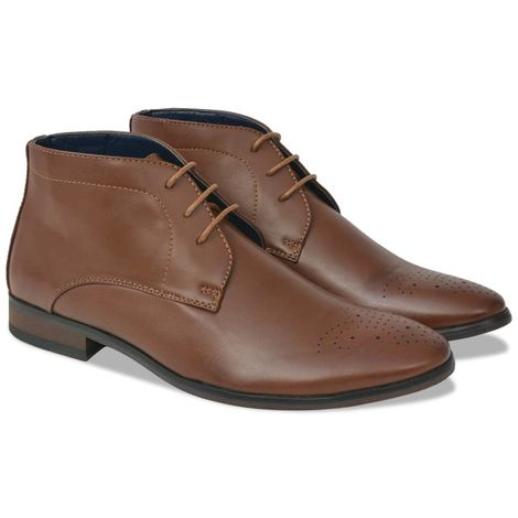 Hommoo Men's Lace-Up Ankle Boots Brown Size 10.5 PU Leather