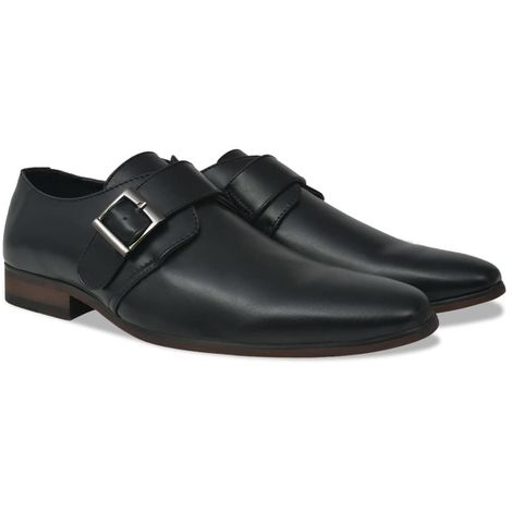 Hommoo Men's Monk Strap Shoes Black Size 7.5 PU Leather