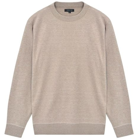 Hommoo Men's Pullover Sweater Round Neck Beige XL