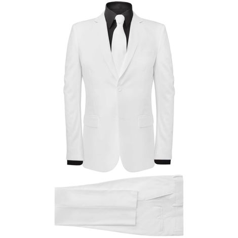 Hommoo Men's Two Piece Suit with Tie White Size 50