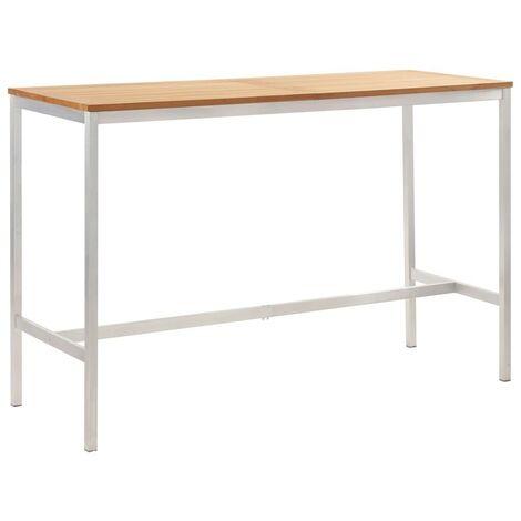 Hommoo Mesa alta de cocina madera teca y acero inoxidable 160x60x105cm