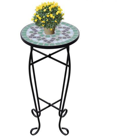 Hommoo Mesa auxiliar mosaico para plantas verde y blanca