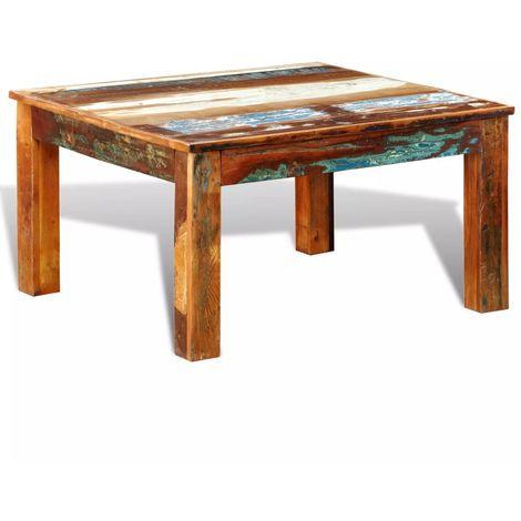 Hommoo Mesa de centro cuadrada de madera reciclada