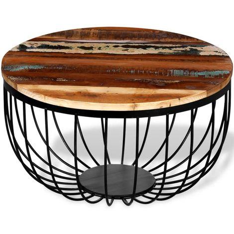 Hommoo Mesa de centro de madera reciclada maciza