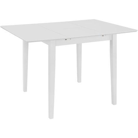 Hommoo Mesa de comedor extensible blanca (80-120)x80x74 cm MDF