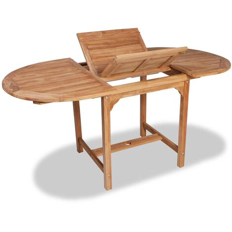 Hommoo Mesa de jardín extensible madera teca maciza (110-160)x80x75cm