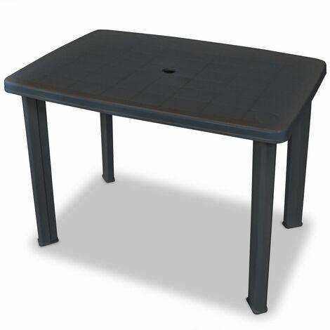 Hommoo Mesa de jardín plástico gris antracita 101x68x72 cm