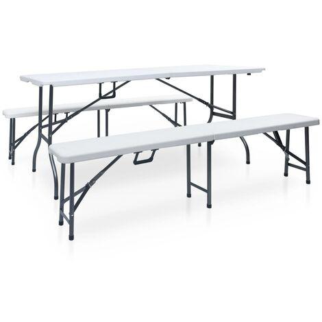 Hommoo Mesa de jardín plegable con 2 bancos acero y HDPE blanco 180 cm