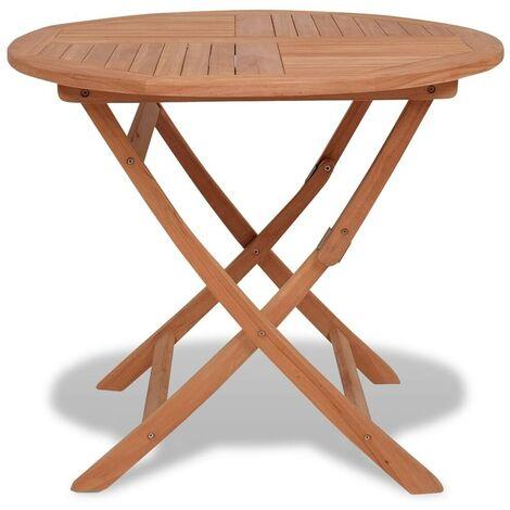 Hommoo Mesa de jardín plegable madera de teca maciza 85x76 cm