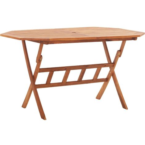 Hommoo Mesa de jardín plegable madera maciza de acacia 135x85x75 cm