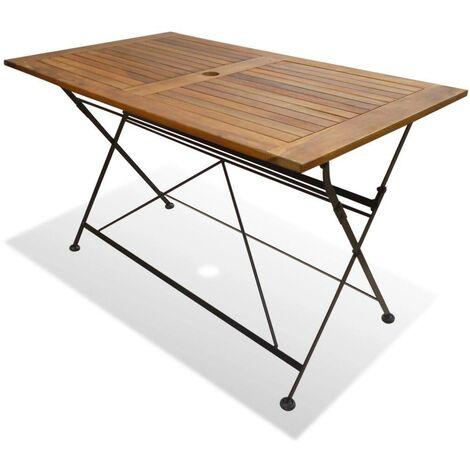 Hommoo Mesa plegable de jardín de madera de acacia maciza 120x70x74 cm