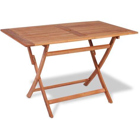 Hommoo Mesa plegable de jardín madera maciza de teca 120x70x75 cm