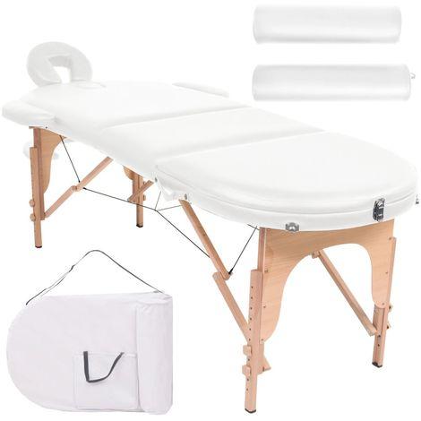Hommoo Mesa plegable de masaje 10 cm grosor 2 cojines ovalados blanco