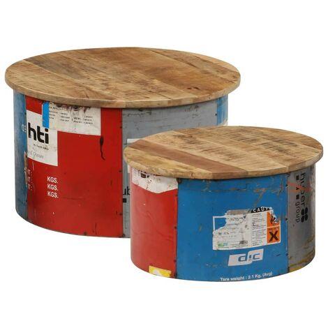 Hommoo Mesas de centro 2 unidades madera maciza de mango