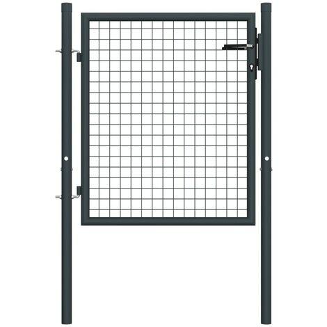 Hommoo Mesh Garden Gate Galvanised Steel 100x125 cm Grey VD35221