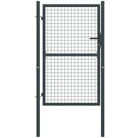 Hommoo Mesh Garden Gate Galvanised Steel 100x200 cm Grey VD35223