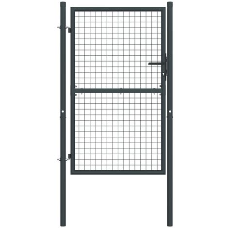 Hommoo Mesh Garden Gate Galvanised Steel 100x225 cm Grey VD35224