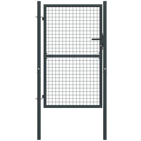 Hommoo Mesh Garden Gate Galvanised Steel 100x250 cm Grey VD35225