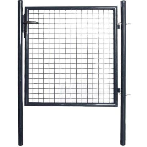 Hommoo Mesh Garden Gate Galvanised Steel 85.5x100 cm Grey VD05286