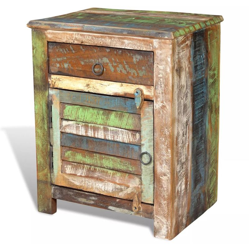 Mesita auxiliar con 1 cajón y 1 puerta madera reciclada - Hommoo