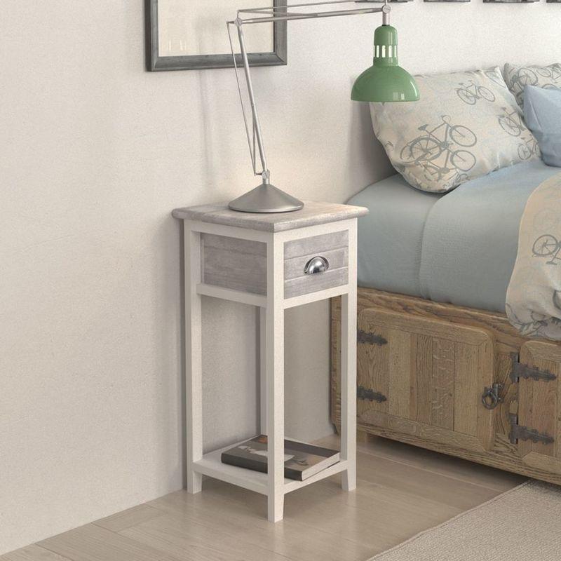 Mesita de noche con 1 cajón gris y blanca - Hommoo