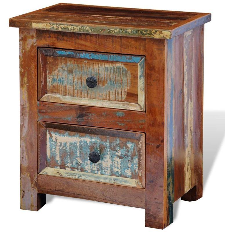 Mesita de noche con 2 cajones de madera maciza reciclada - Hommoo