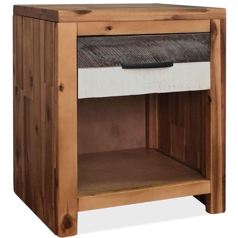 Mesita de noche de madera maciza de acacia 40x30x48 cm - Hommoo