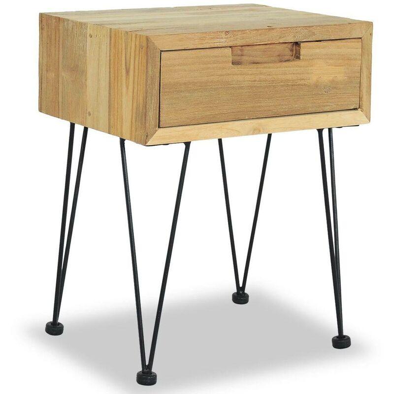 Mesita de noche madera de teca maciza 40x30x50 cm - Hommoo
