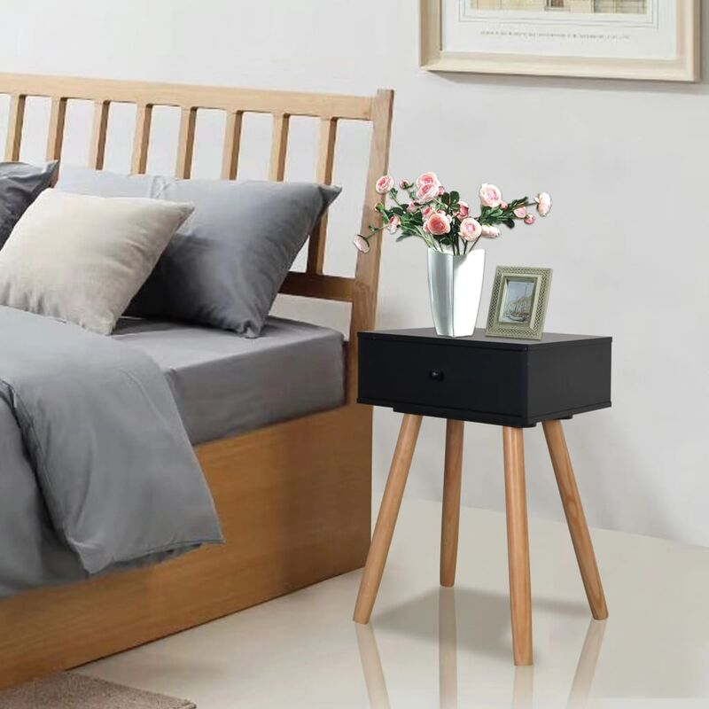 Mesitas de noche 2 uds. madera maciza de pino 40x30x61 cm negro HAXD10801 - Hommoo