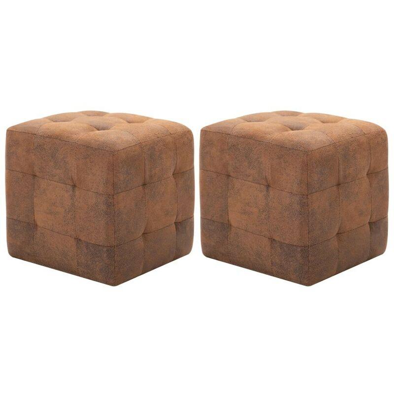 Mesitas de noche 2 uds piel ante artificial marrón 30x30x30cm - Hommoo