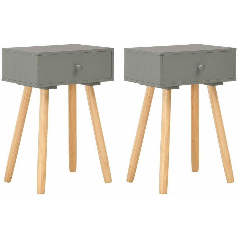 Mesitas de noche 2 unidades madera maciza de pino gris HAXD25449 - Hommoo