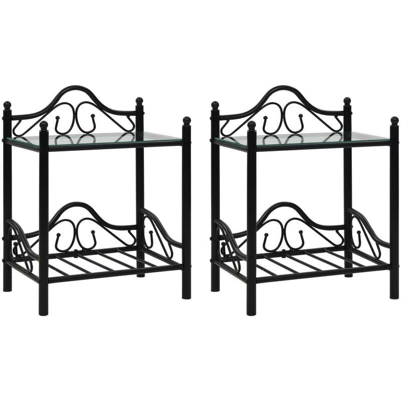 Mesitas de noche acero vidrio templado 45x30,5x60cm negro 2uds - Hommoo