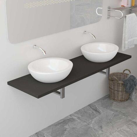 Hommoo Meuble de salle de bain Gris 160x40x16,3 cm HDV24479