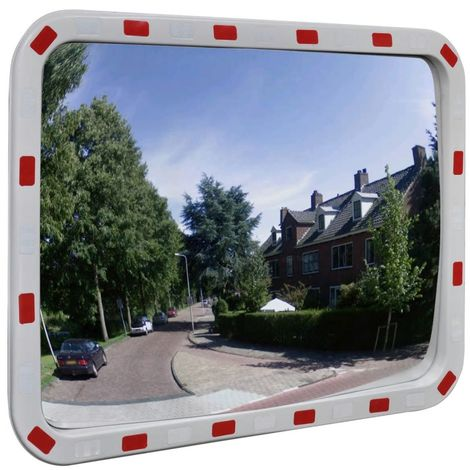 Hommoo Miroir de trafic convexe rectangulaire 60x80cm avec réflecteurs