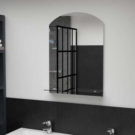 Hommoo Miroir mural avec étagère 50x70 cm Verre trempé